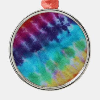 Os anos 60 do arco-íris do Hippie do teste padrão Ornamento Redondo Cor Prata