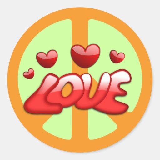 Os anos 60: Etiqueta da paz e do amor Adesivos Redondos