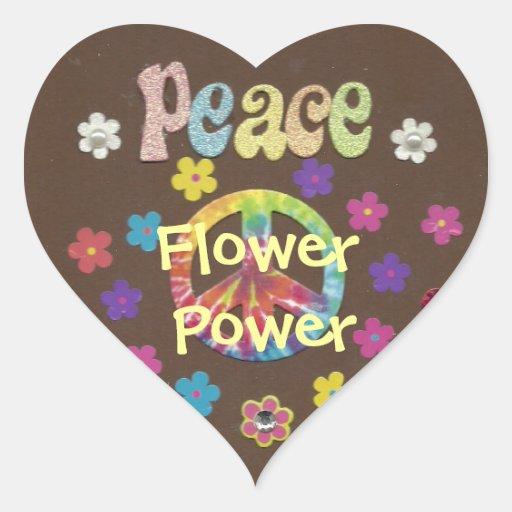 Os anos 60: Etiqueta de flower power Adesivo Em Forma De Coração
