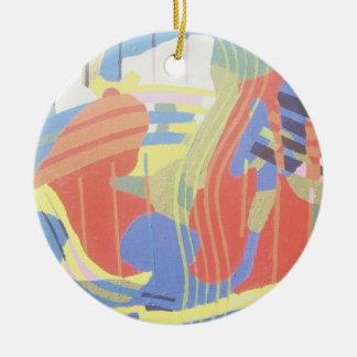os anos 60 que pintam #9 ornamento de cerâmica redondo