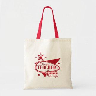 Os anos 60 vermelhos retros do professor pré-escol bolsas para compras