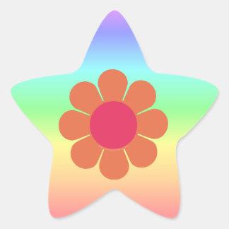 os anos 70 flower power adesivos em forma de estrelas