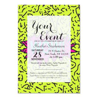 Os anos 90 retros de néon do anos 80 Scribbled o Convite 8.89 X 12.7cm