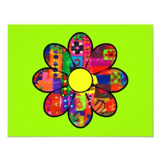Os anos sessenta flower power convite personalizados