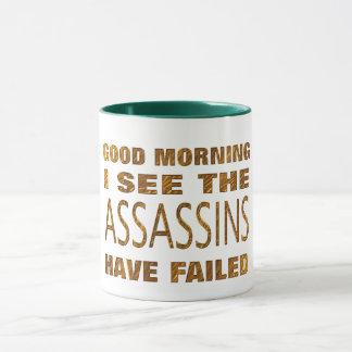 os assassinos falharam a caneca de café engraçada