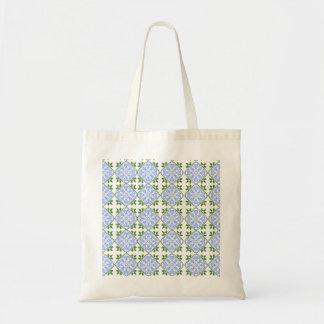 Os azuis e os verdes abstraem a arte floral vão bolsa para compras