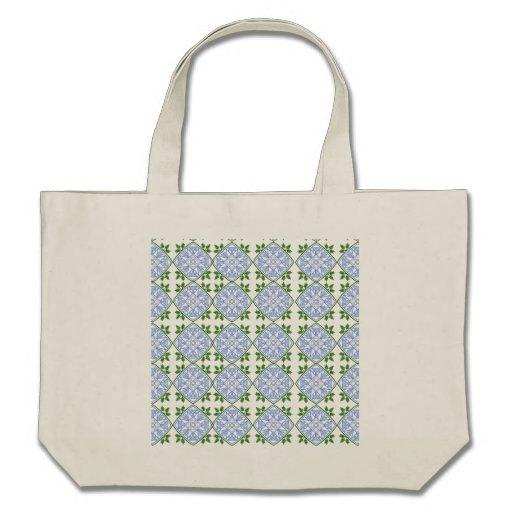 Os azuis e os verdes abstraem a arte floral vão ve bolsa para compras