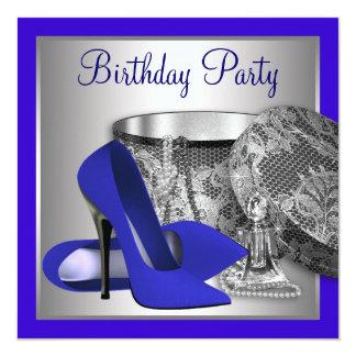 Os azuis marinhos da mulher e a festa de convite quadrado 13.35 x 13.35cm