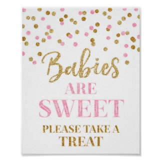 Os bebês são confetes doces do rosa do ouro do poster