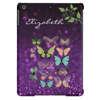 Os beijos da borboleta no iPad roxo do brilho arej Capa Para iPad Air