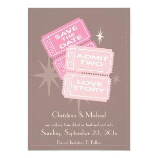 Os bilhetes do filme salvar o cartão de data convite 12.7 x 17.78cm