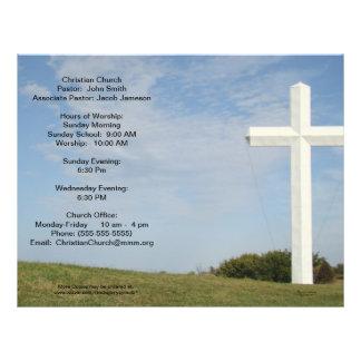 Os boletins da igreja, cruz branca, personalizam flyer 21.59 x 27.94cm