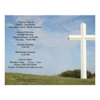 Os boletins da igreja, cruz branca, personalizam modelos de panfleto