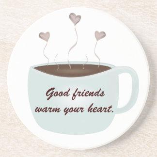 Os bons amigos aquecem sua porta copos do coração