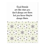 Os bons amigos são como citações feitas sob encome cartão postal