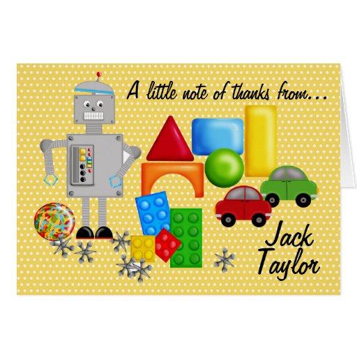 Os brinquedos Notecards de um menino Cartoes