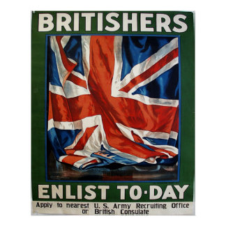 Os Britishers recrutam hoje Poster