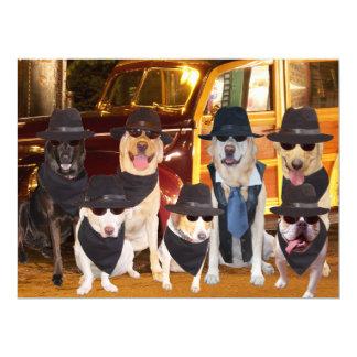 Os cães engraçados customizáveis/laboratórios convite 16.51 x 22.22cm