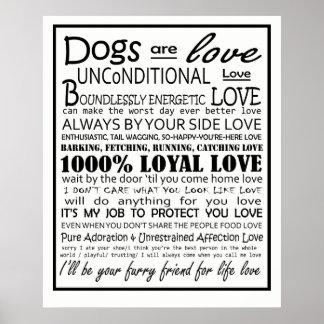 Os cães são poster do amor