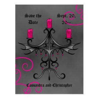 Os candelabros góticos extravagantes em cinzas cartoes postais