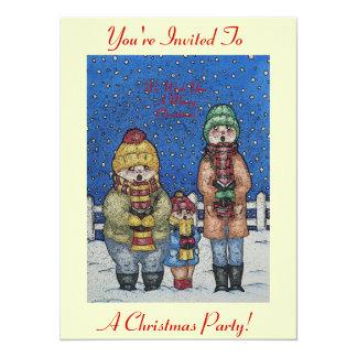 os cantores engraçados da canção de natal no Natal Convite 13.97 X 19.05cm
