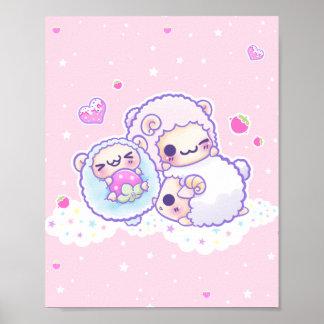 Os carneiros bonitos do algodão doce poster