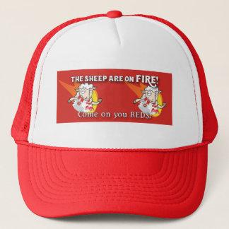 Os carneiros estão no boné de beisebol do fogo