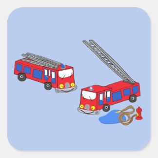 Os carros de bombeiros vermelhos do bombeiro adesivo quadrado