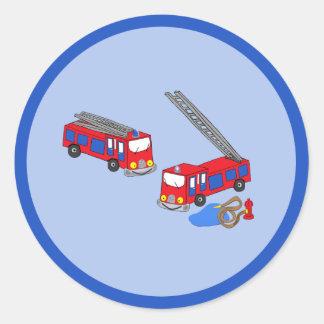 Os carros de bombeiros vermelhos do bombeiro adesivo
