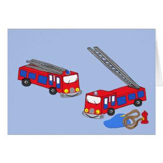 Os carros de bombeiros vermelhos do bombeiro cartão comemorativo