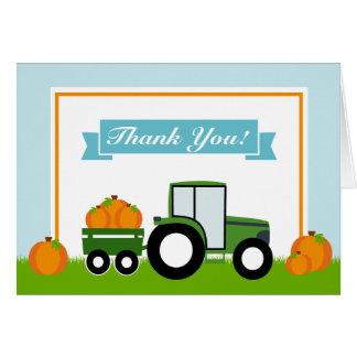 Os cartões de agradecimentos da abóbora do trator
