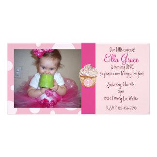 Os cartões de fotos do primeiro aniversario convid cartao com foto personalizado