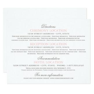 Os cartões de informação do convidado | coram rosa