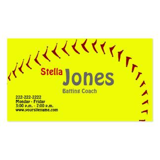 Os cartões de visitas do treinador do softball de