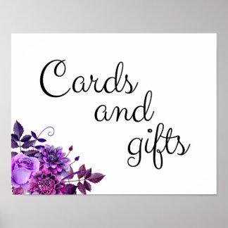 Os cartões e os presentes que wedding o roxo do pôster