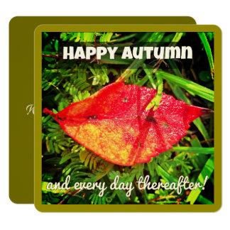 Os cartões felizes do outono com queda folheiam,