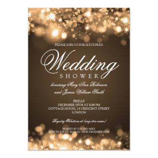 Os casais regam o ouro Sparkling das luzes Convite 12.7 X 17.78cm