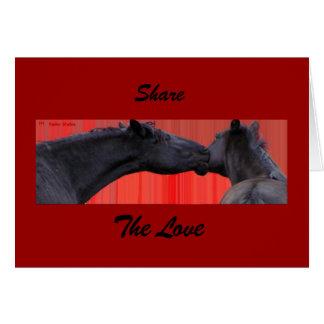 Os cavalos compartilham do cartão do amor