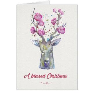 Os cervos/Antlers da aguarela abençoaram o cartão