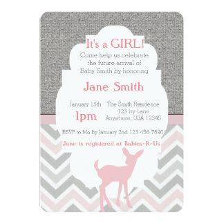 Os cervos cor-de-rosa Chevron do bebê & o chá de Convite 12.7 X 17.78cm