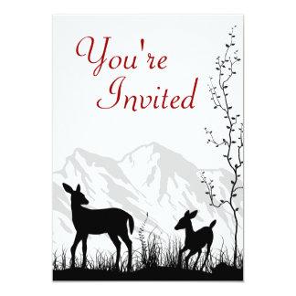 Os cervos da silhueta e o chá de fraldas das convite 12.7 x 17.78cm