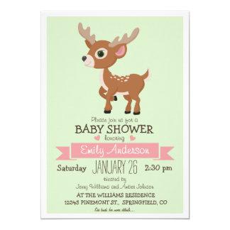 Os cervos do bebê, jovem corça, chá de fraldas da convite 12.7 x 17.78cm