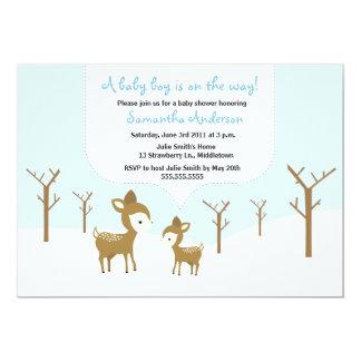 Os cervos do inverno e o chá de fraldas da jovem convite 12.7 x 17.78cm