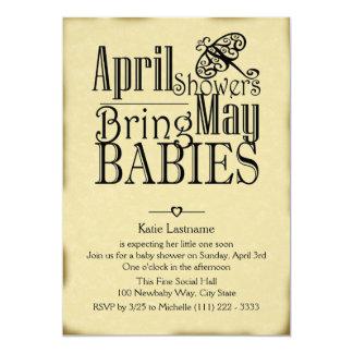 Os chás de abril podem bebê convite 12.7 x 17.78cm