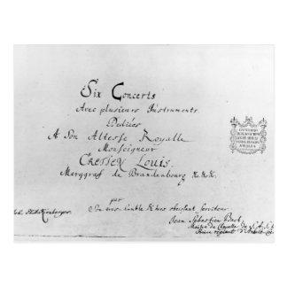 Os concertos de Brandemburgo, 1721 Cartão Postal