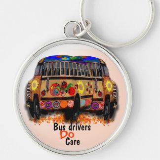 Os condutores de autocarro importam-se chaveiro redondo na cor prata