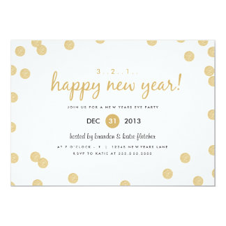 Os confetes do ouro em o ano novo dos impressões convite 12.7 x 17.78cm