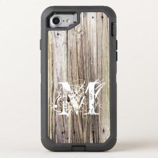 Os conselhos de madeira rústicos com monograma do capa para iPhone 8/7 OtterBox defender