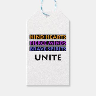Os corações amáveis, mentes ferozes, espírito etiqueta para presente