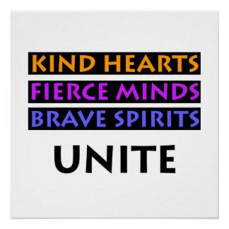 Os corações amáveis, mentes ferozes, espírito pôster